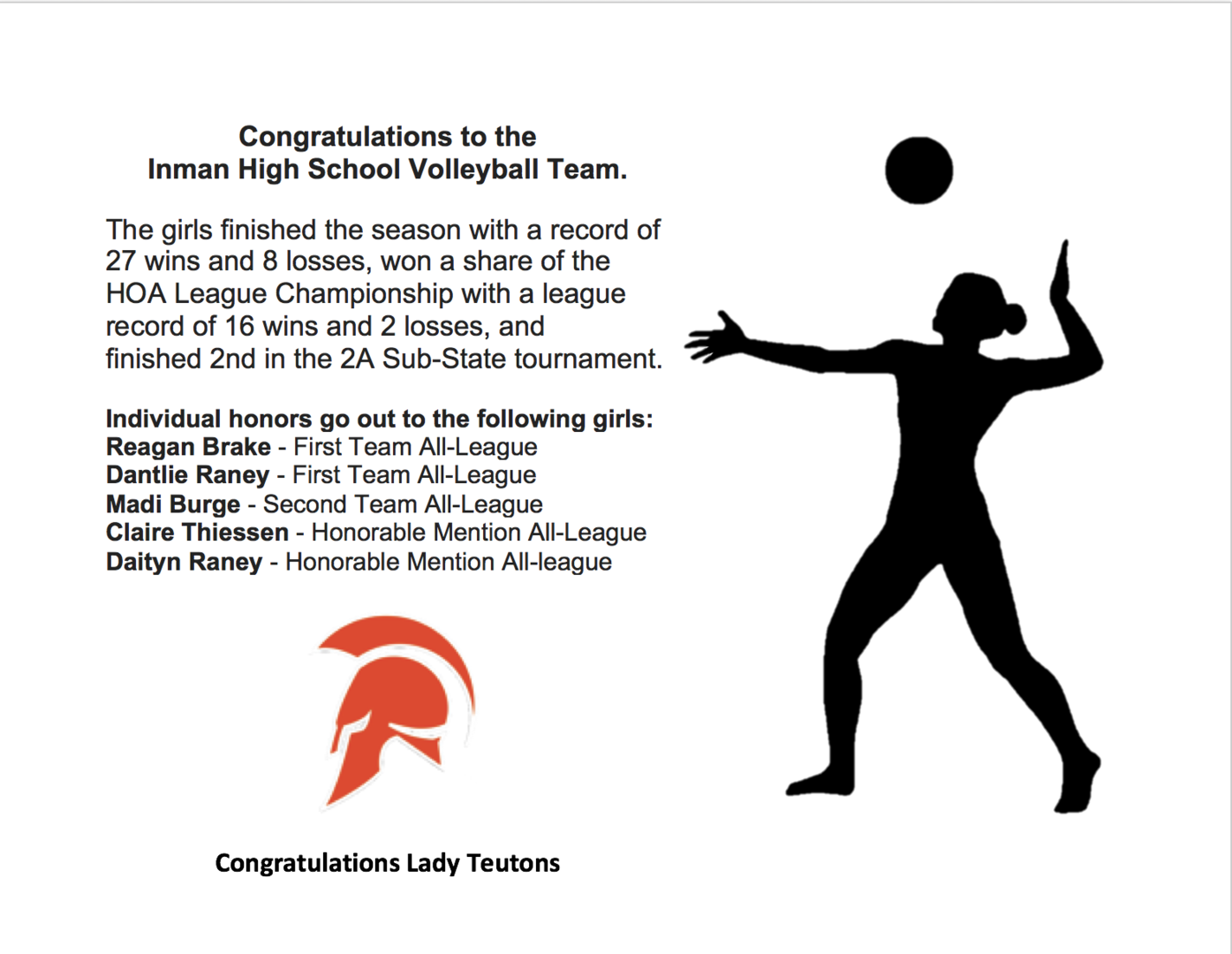 league accomplishments and girl volleyball
